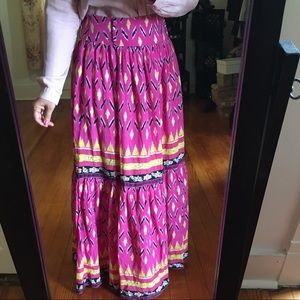 BOHO '90s Vintage Maxi Skirt Yoke Wide Belt Loops